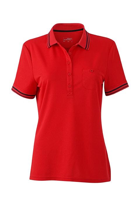Dámská sportovní polokošile JN701 - Červená / černá | M