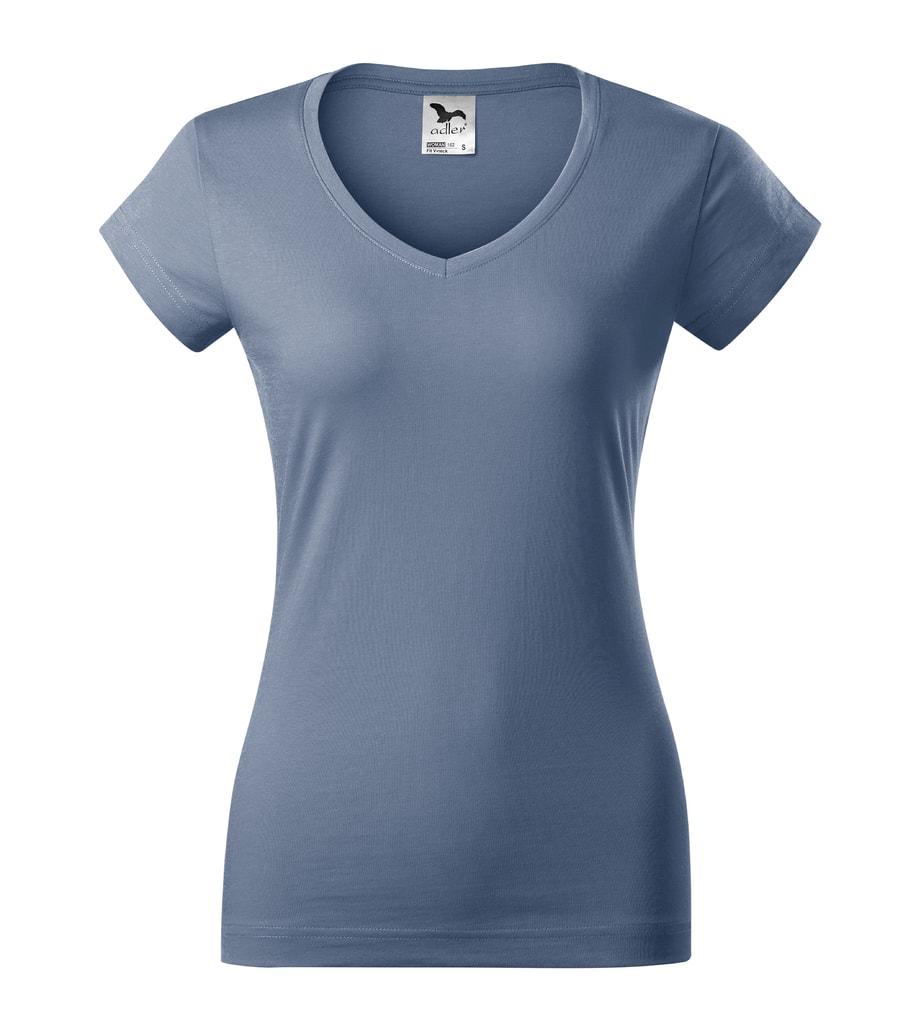 Dámské tričko Fit V-neck - Denim | XL