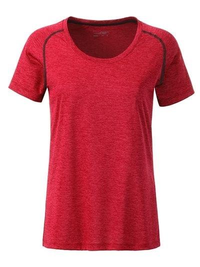 Dámské funkční tričko JN495 - Červený melír - titan | XL