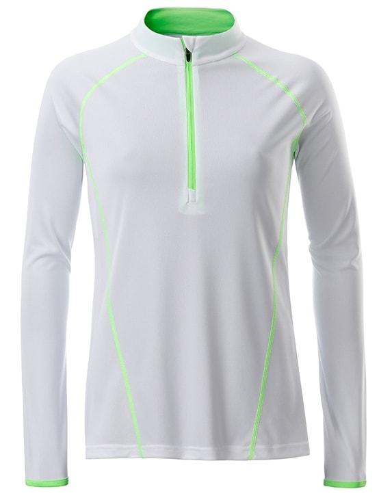 Dámské funkční tričko s dlouhým rukávem JN497 - Bílo-zářivě zelená | L