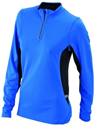 Dámské sportovní tričko s dlouhým rukávem JN317 - Královská modrá / černá | M