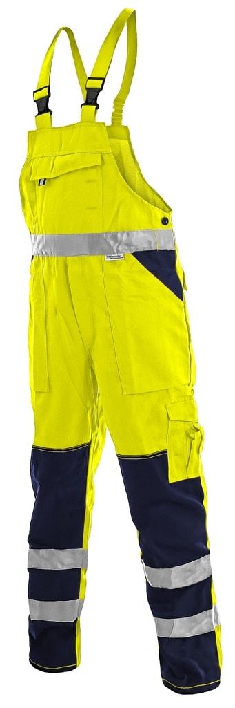 Pracovní reflexní kalhoty s laclem NORWICH - Žlutá | 54