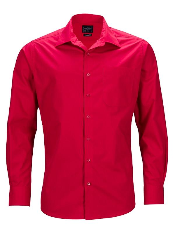 Pánská košile s dlouhým rukávem JN642 - Červená   S