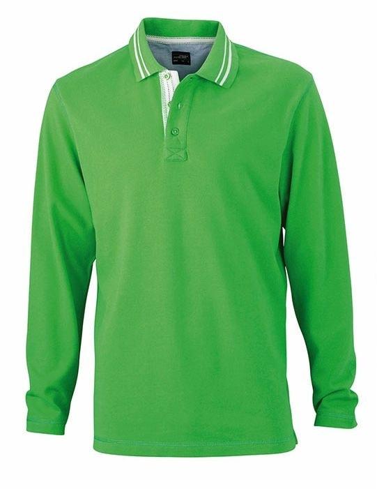Pánská polokošile s dlouhým rukávem JN968 - Zelená / bílá | XXXL