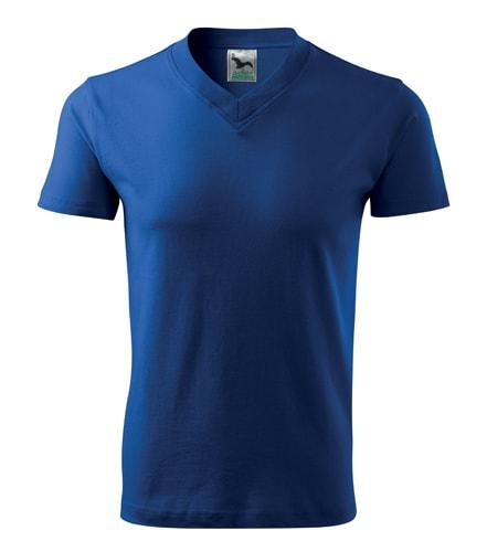 Tričko V-neck - Královská modrá | XL