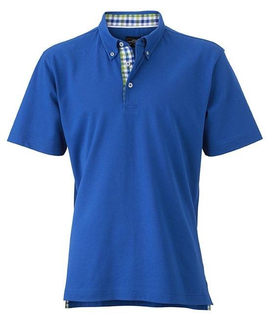 Elegantní pánská polokošile JN964 - Královská modrá / modro-zeleno-bílá | XXXL