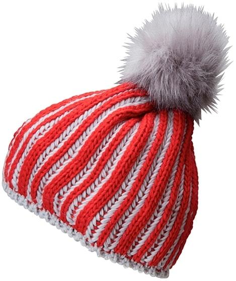 Myrtle Beach Pletená dámska zimná čiapka MB7107 - Světle červená / stříbrná