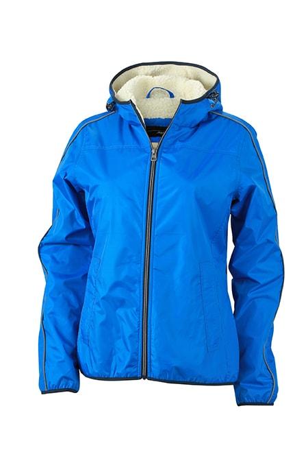 James & Nicholson Dámska zimná bunda Baránok JN1103 - Královská modrá / šedo-bílá | XXL