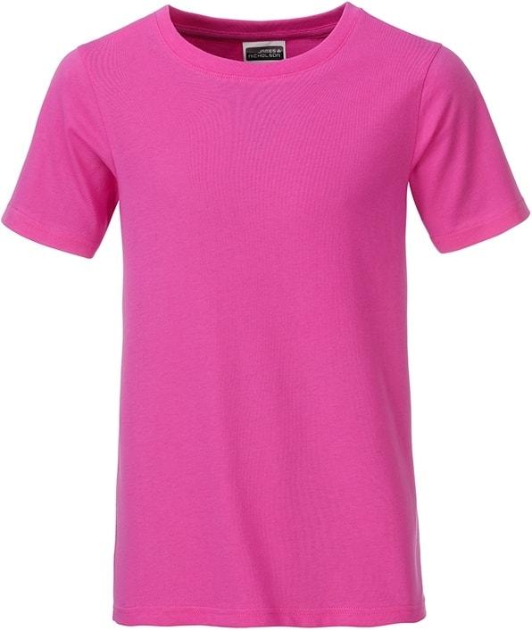 Klasické chlapecké tričko z biobavlny 8008B - Růžová | M