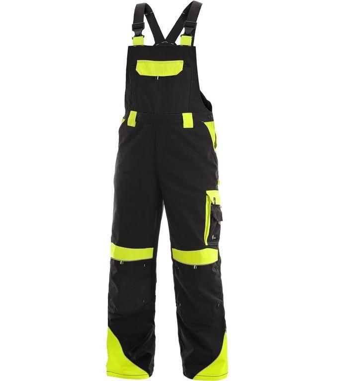 Pracovní kalhoty s laclem SIRIUS BRIGHTON - Černá / žlutá | 56
