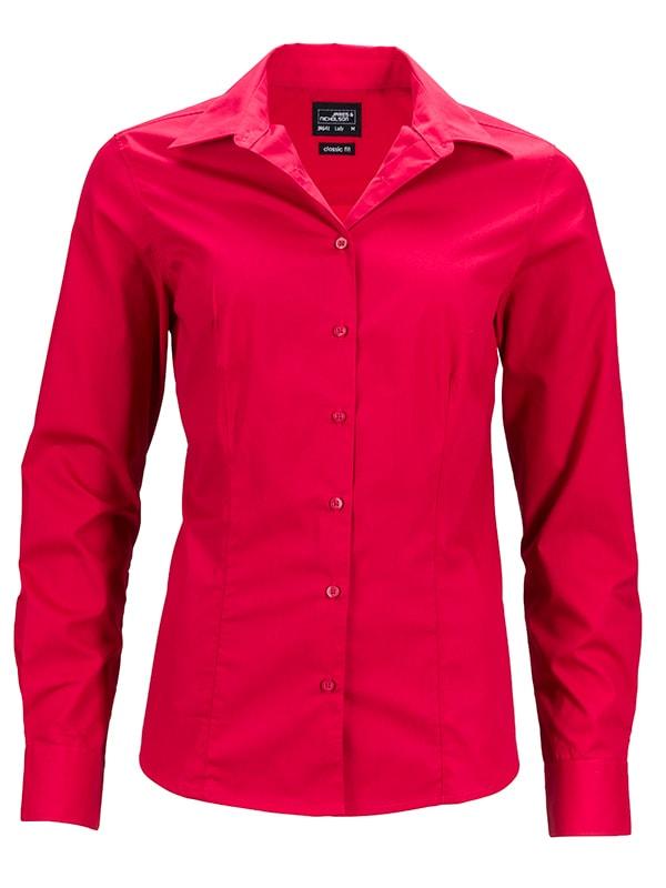 Dámská košile s dlouhým rukávem JN641 - Červená   M