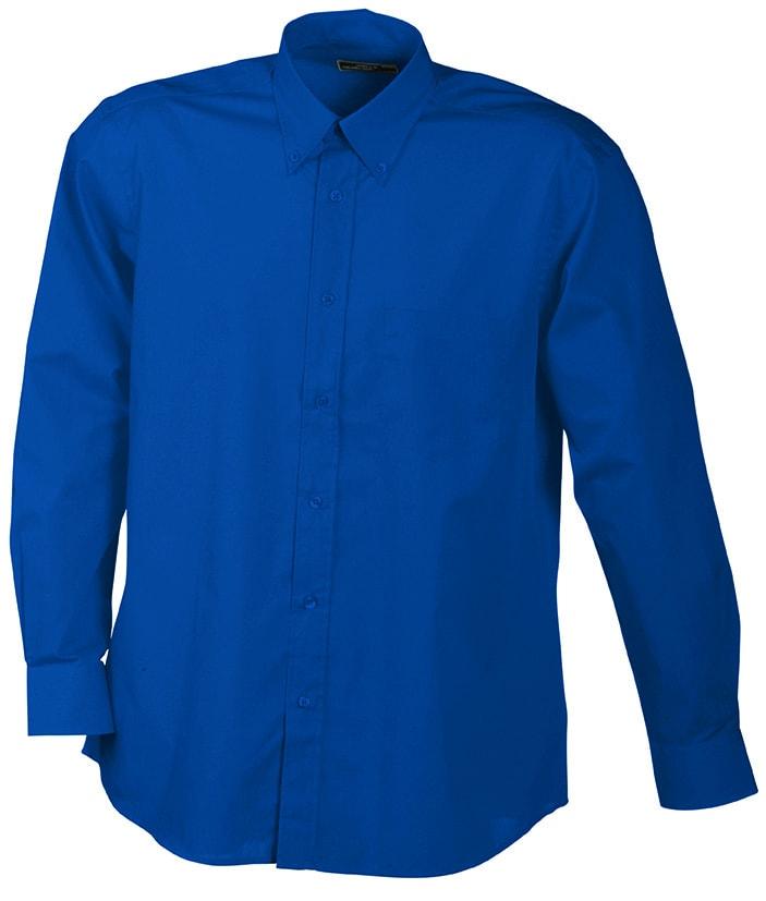 Pánská košile s dlouhým rukávem JN600 - Královská modrá | XXXL