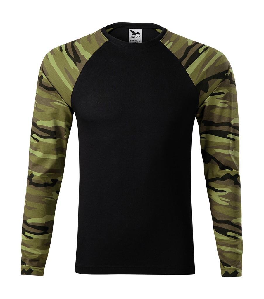 Maskáčové tričko s dlouhým rukávem - Maskáčová zelená | XS