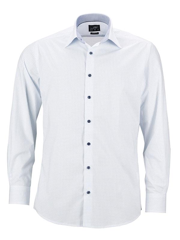 Pánská luxusní košile Dots JN674 - Bílo-světle modrá | XXXL