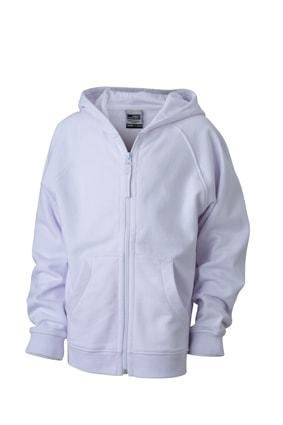 Dětská mikina na zip s kapucí JN059k - Bílá | XXL