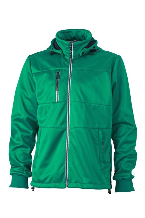 Pánská sportovní softshellová bunda JN1078 - Irská zelená / tmavě modrá / bílá | L