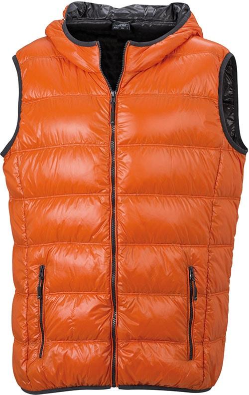 Lehká pánská péřová vesta JN1062 - Tmavě oranžová / tmavě šedá | XXL