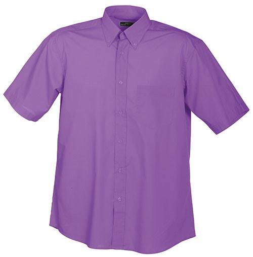 Pánská košile s krátkým rukávem JN601 - Fialová | XL