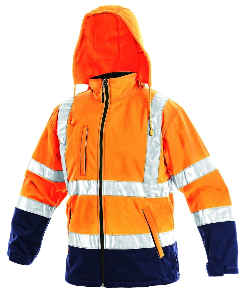 Reflexní softshellová bunda DERBY - Oranžová | XXXL