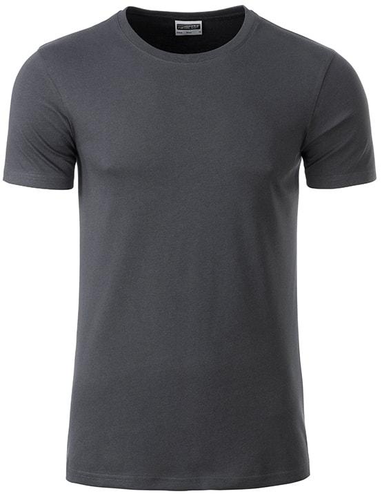Klasické pánské tričko z biobavlny 8008 - Grafitová | M