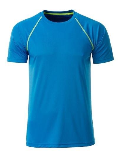 Pánské funkční tričko JN496 - Jasně modrá / sytě žlutá | XL
