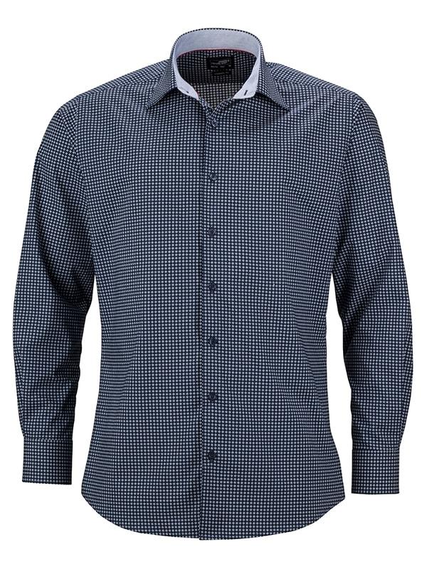 Pánská luxusní košile Dots JN674 - Tmavě modro-bílá | XXXL