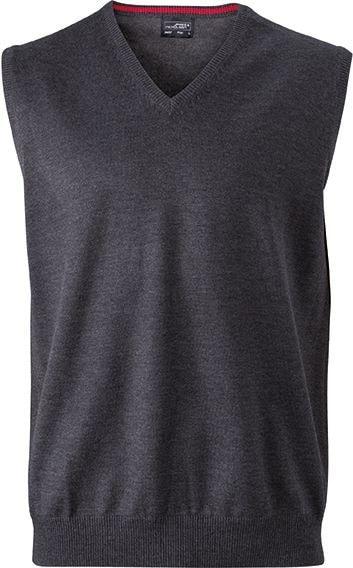 Pánský svetr bez rukávů JN657 - Antracitový melír | XXL