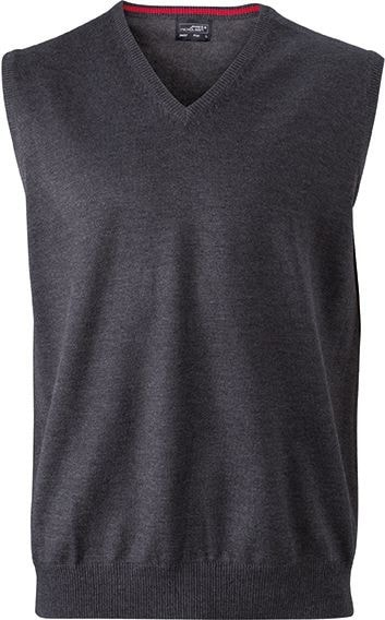 Pánský svetr bez rukávů JN657 - Antracitový melír | XXXL
