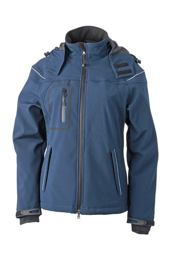 James & Nicholson Zimná dámska softshellová bunda JN1001 - Tmavě modrá   XL