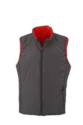 Lehká pánská oboustranná vesta JN1090 - Červená / tmavě šedá | XXXL