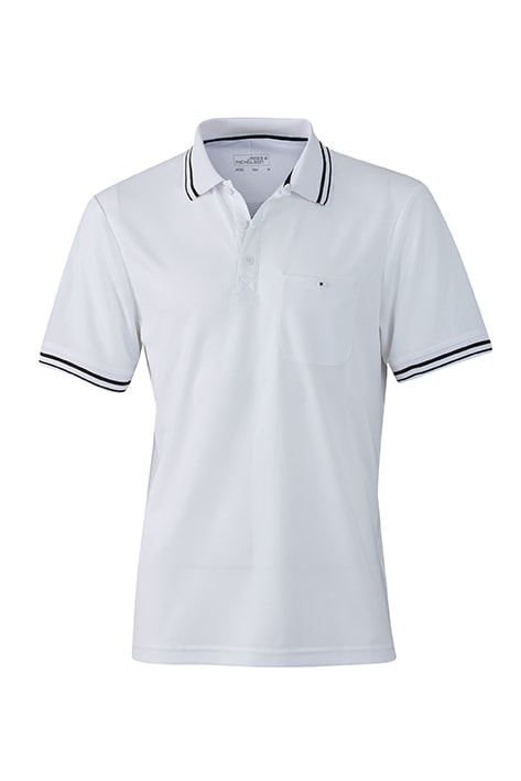 Pánská sportovní polokošile JN702 - Bílá / černá | XL