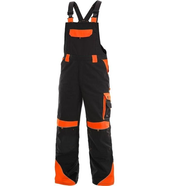 Pracovní kalhoty s laclem SIRIUS BRIGHTON - Černá / oranžová | 56