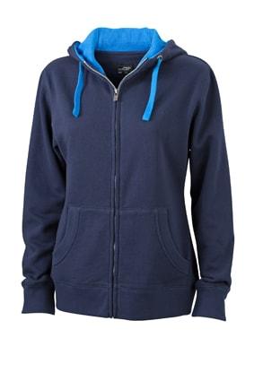 Dámská mikina na zip s kapucí JN962 - Tmavě modrá / kobaltová | S