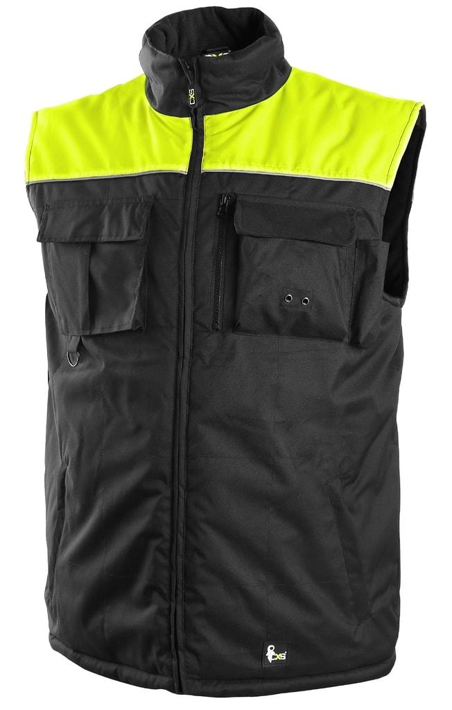 Zateplená pracovní vesta SEATTLE NEW - Černá / žlutá | XL