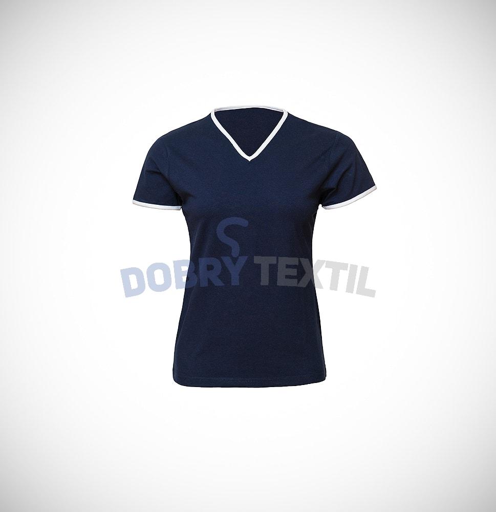 Dámské dvoubarevné tričko HIT - Tmavě modrá / bílá | L
