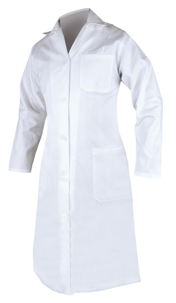 Dámský bavlněný plášť - Bílá | 58