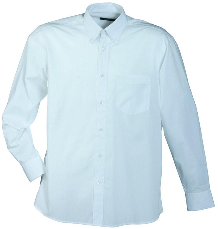 Pánská košile s dlouhým rukávem JN600 - Bílá   S