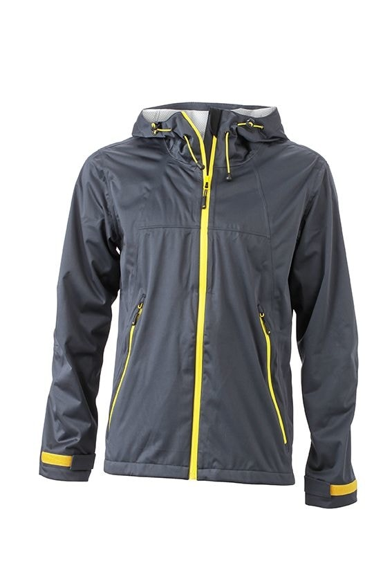 Pánská softshellová bunda s kapucí JN1098 - Ocelově šedá / žlutá | XXL