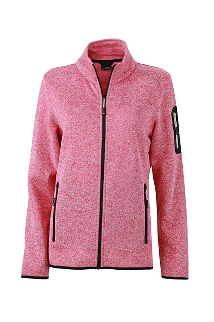 Dámská bunda z pleteného fleecu JN761 - Růžový melír / šedo-bílá | XXL