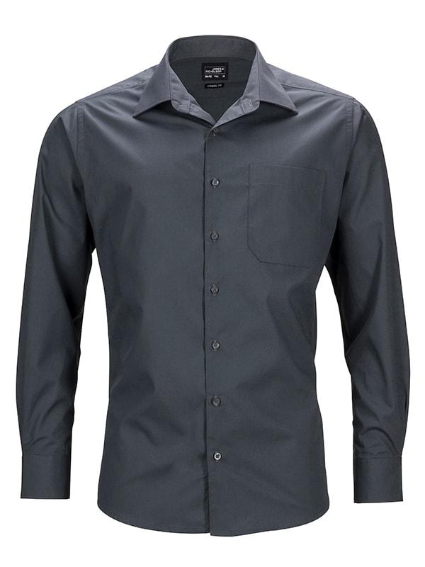 Pánská košile s dlouhým rukávem JN642 - Tmavě šedá   S