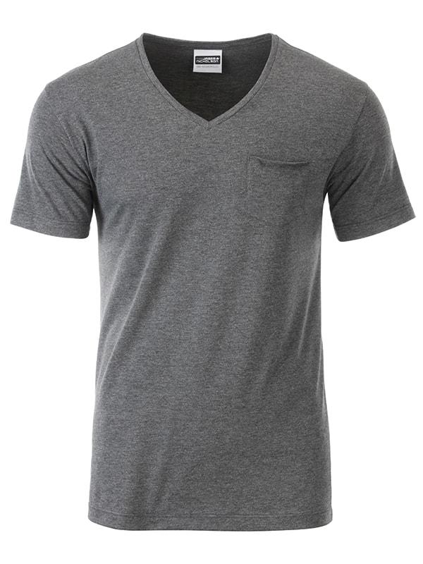 Pánské tričko z biobavlny 8004 - Černý melír | M