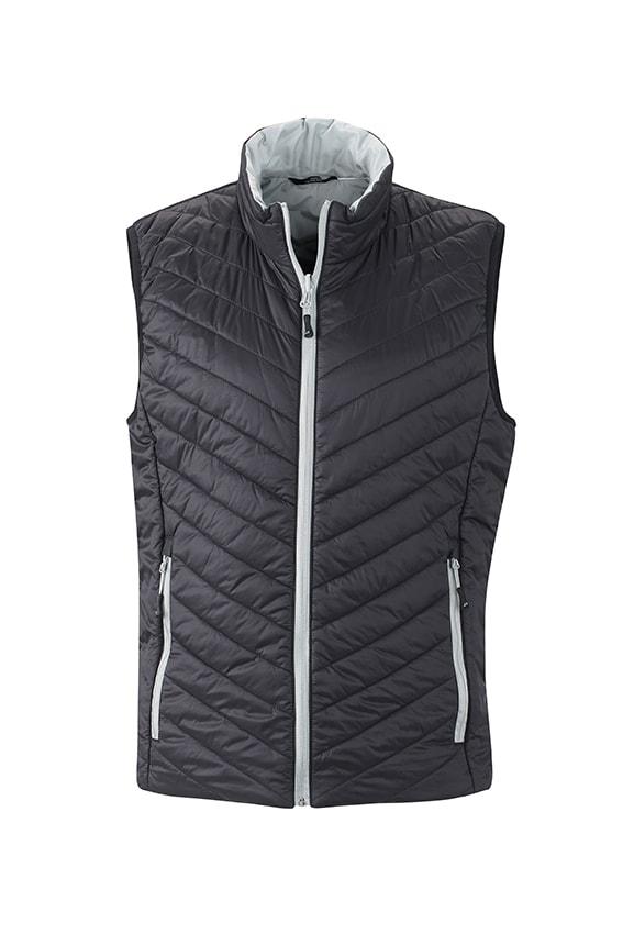 Lehká pánská oboustranná vesta JN1090 - Černá / stříbrná   S