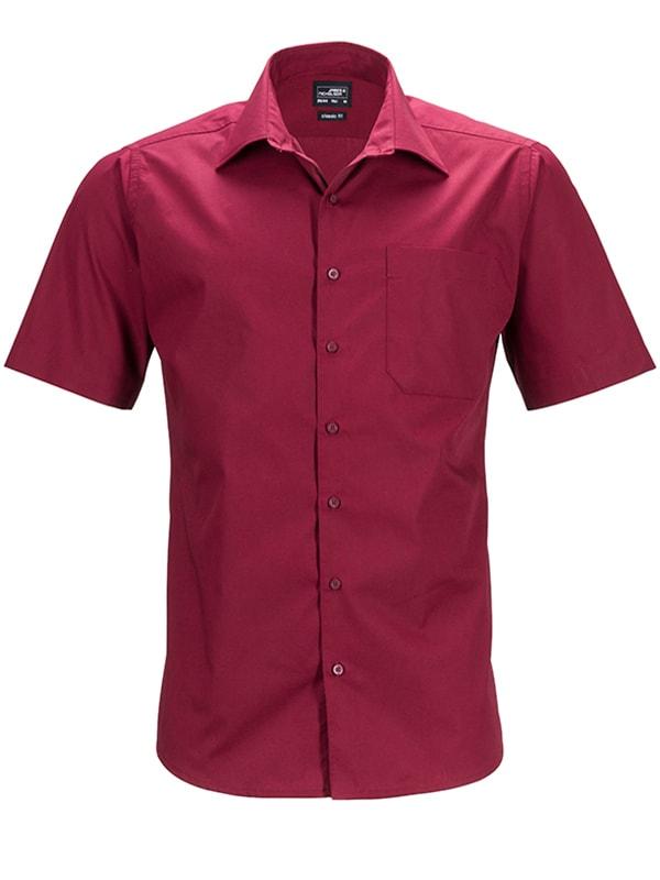 Pánská košile s krátkým rukávem JN644 - Vínová | XXXL