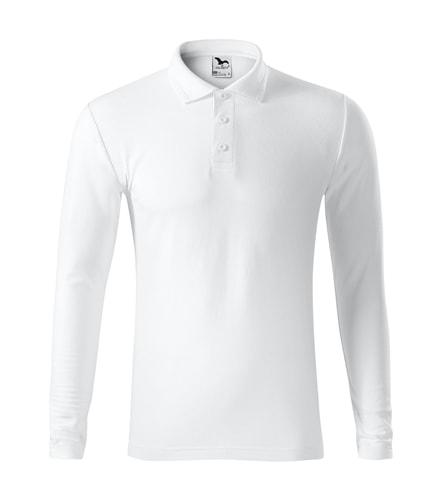 Pánská polokošile s dlouhým rukávem Pique Polo LS - Bílá | L