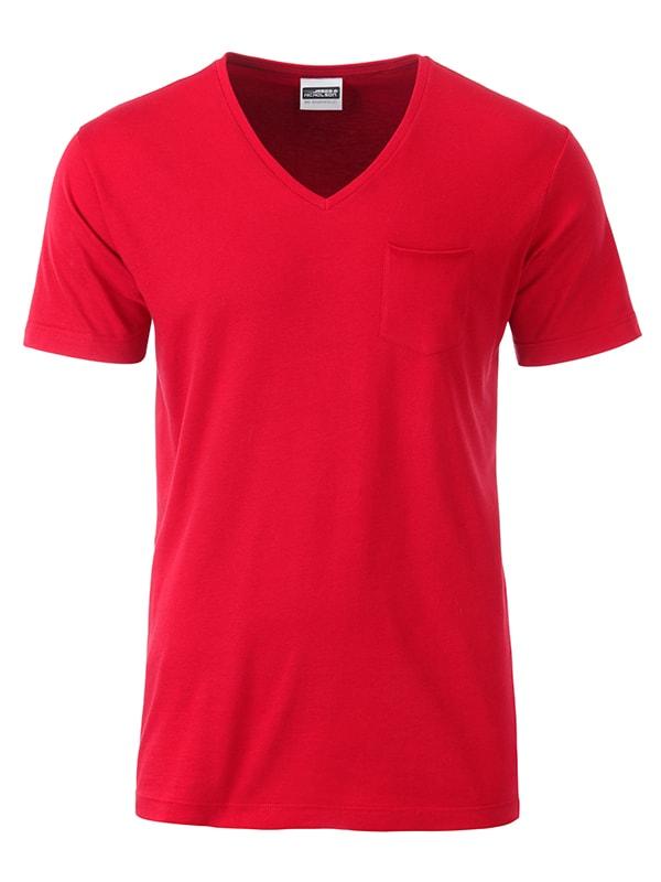 Pánské tričko z biobavlny 8004 - Červená | M