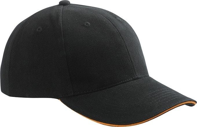 Reklamní kšiltovka 6 panelová sandwich MB024 - Černá / oranžová | uni