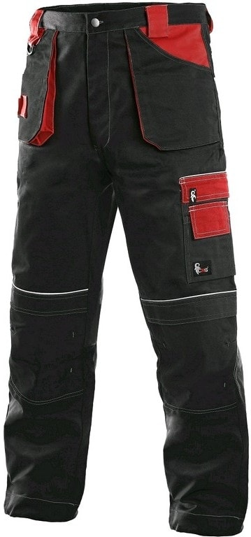 Zimní pracovní kalhoty do pasu ORION TEODOR - Černá / červená | 48-50