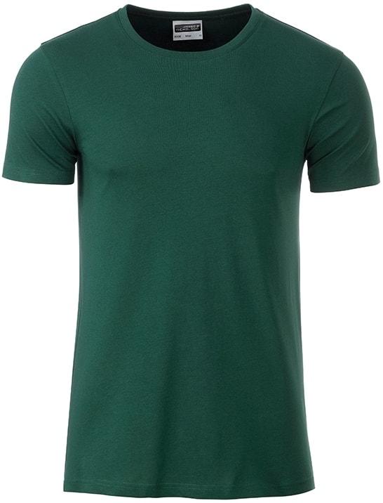 Klasické pánské tričko z biobavlny 8008 - Tmavě zelená | M