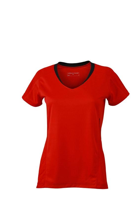 Dámské běžecké triko JN471 - Tomato / černá   L