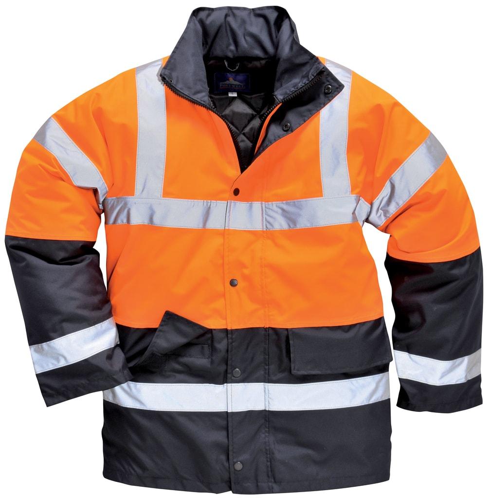 Zimní reflexní bunda s kapucí - Oranžová | S